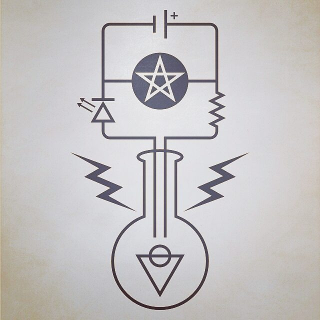 Fig. 3 --- An electric circuit passing through a salt-water solution. The pentacle in the center of the circuit represents any electrical load in parallel with the solution---cf. the schematic symbol for a motor. The pentacle symbolizes the spiritual manifesting in matter.